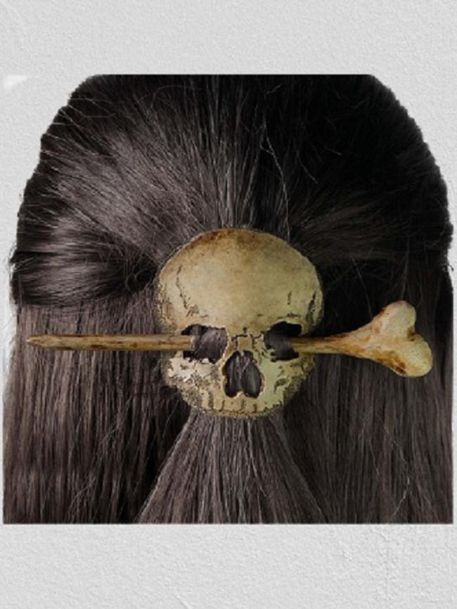 Bronze Halloween Skull Handmade Hairpin