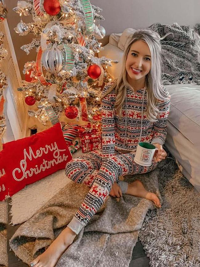 Christmas Elk print Hooded Lounge Set