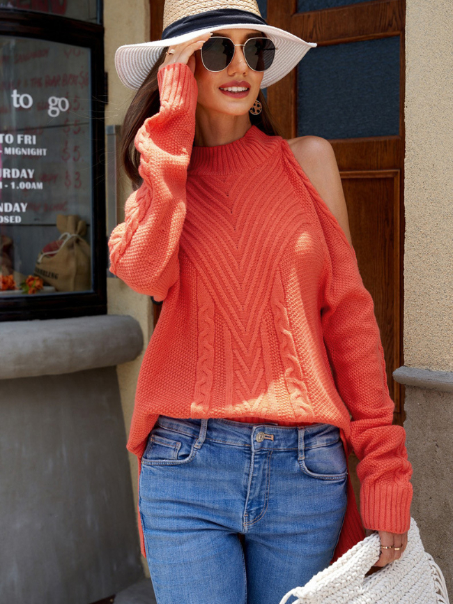 Cold Shoulder High Neck Knitted Sweater
