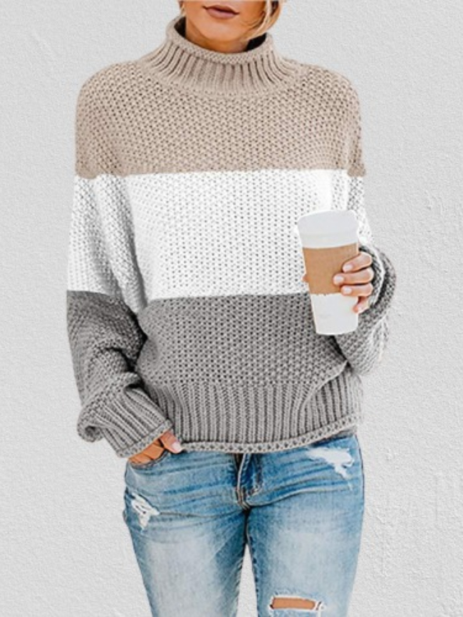 Color Block Chunky Batwing Sleeve Turtleneck Sweater