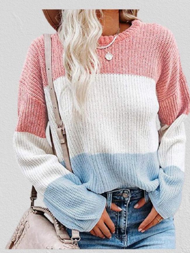 Color Block Lantern Sleeve Pullover Sweater