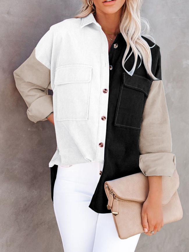 Color Block Print Buttoned Corduroy Jacket