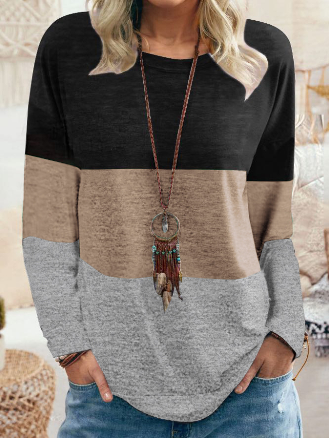 Color Block Print Pullover Tee