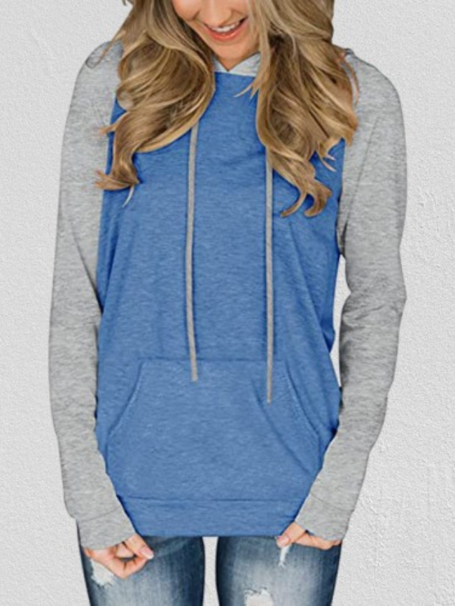 Color Contrast Kangaroo Pocket Hooded Sweatshirt