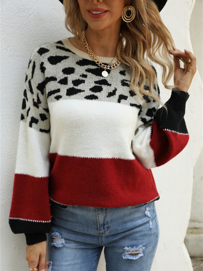 Colorblock Leopard Crew Neck Pullover Knitted Sweater