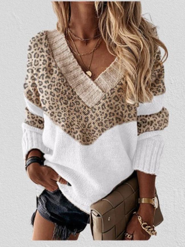 Colorblock Striped Leopard Print V-neck Sweater