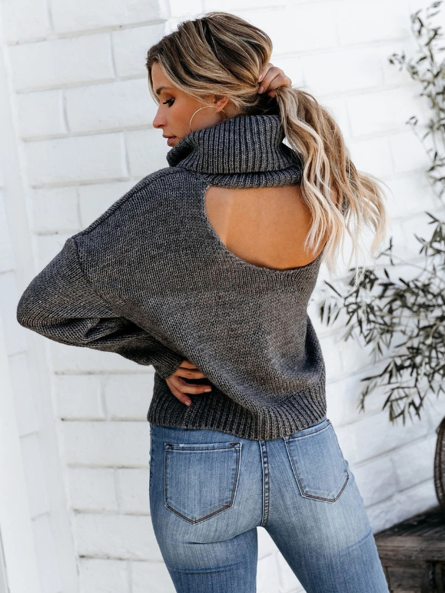 Cut out Back Chunky Turtleneck Sweater