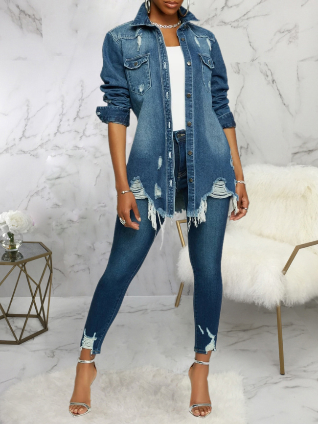 Distressed Ripped Single-breasted Denim Jackets