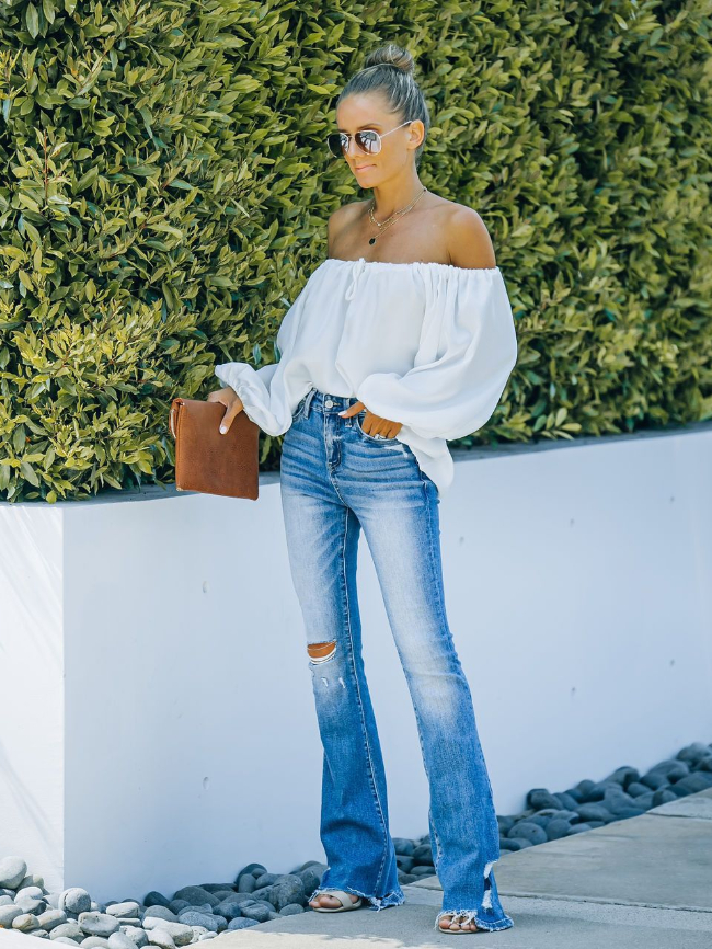 Flare Ripped High Rise Wide Leg Jeans