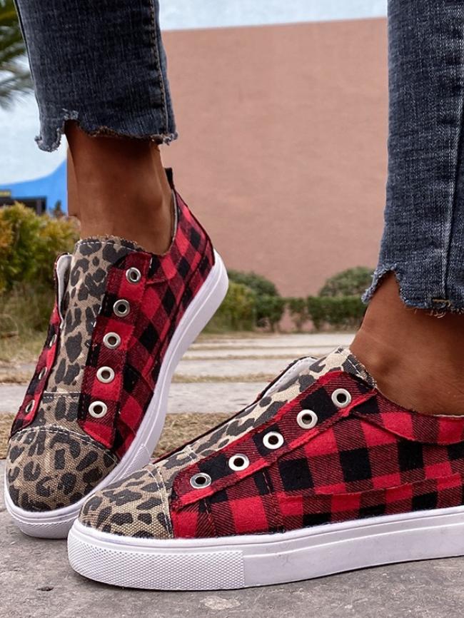 Flat Plaid Printed Canvas Shoes
