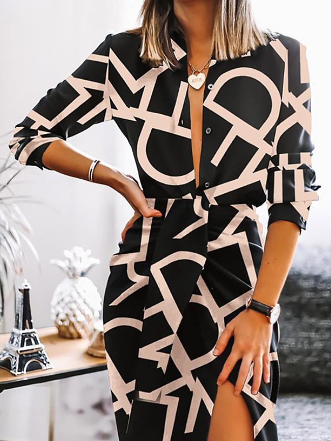 Geographic Printing V-neck Split Thigh Dress