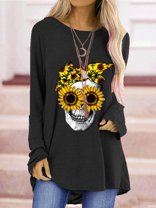 Halloween Chrysanthemum Skull Print Tee