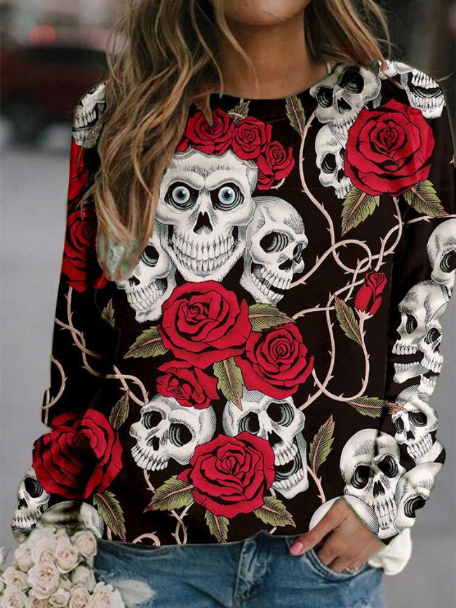 Halloween Skull Print Sweatshirt