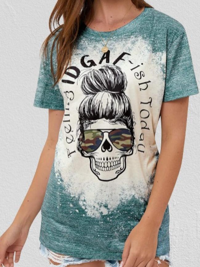 Halloween skull Print T-Shirt Tee