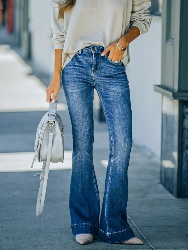 High Waist Button Flare Jeans