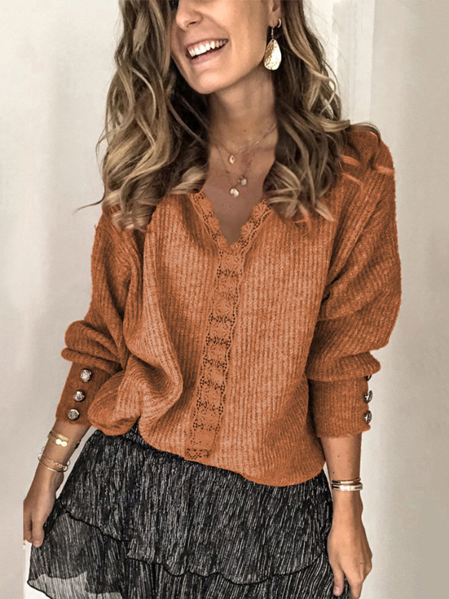 Lace V-neck Pullover Solid Sweater