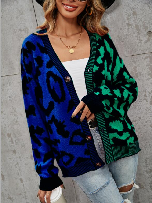 Leopard Colorblock Button Cardigan Knitted Sweater