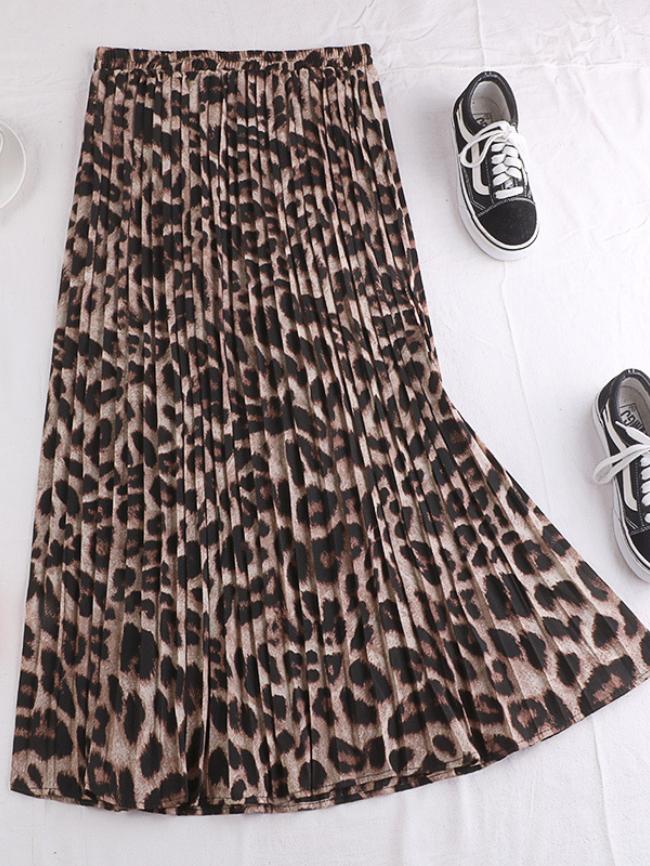 Leopard Pleated A-line Long Skirt