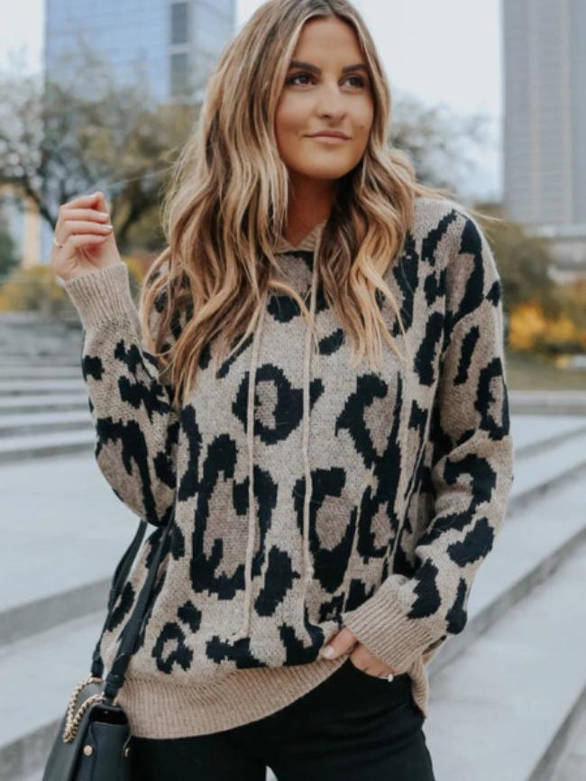 Leopard Print Drawstring Hoodie Sweater