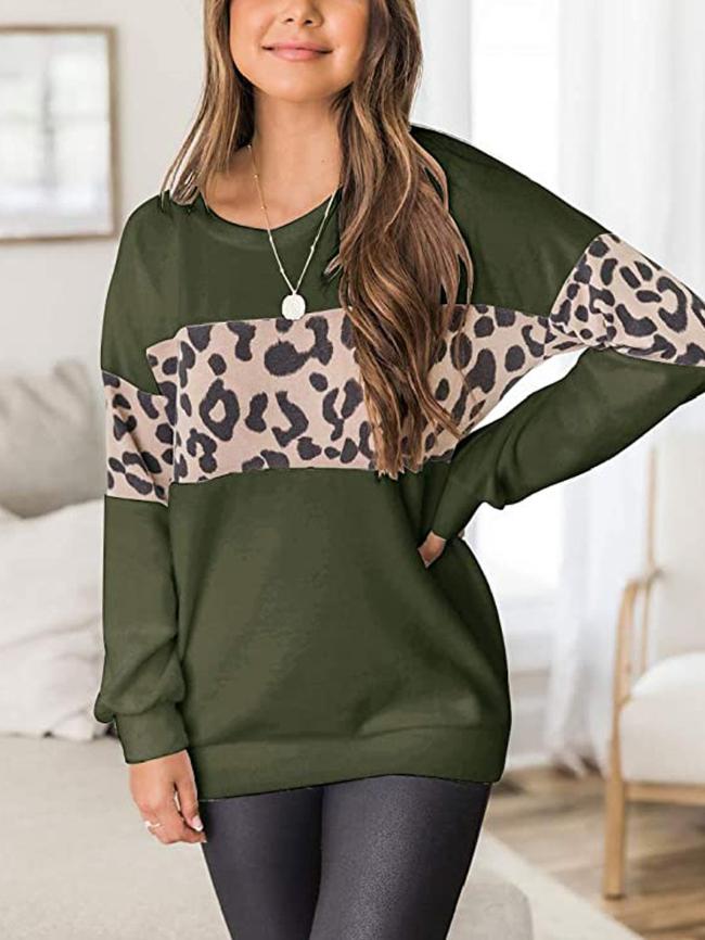 Leopard Print Patchwork Pullover Sweatshirt