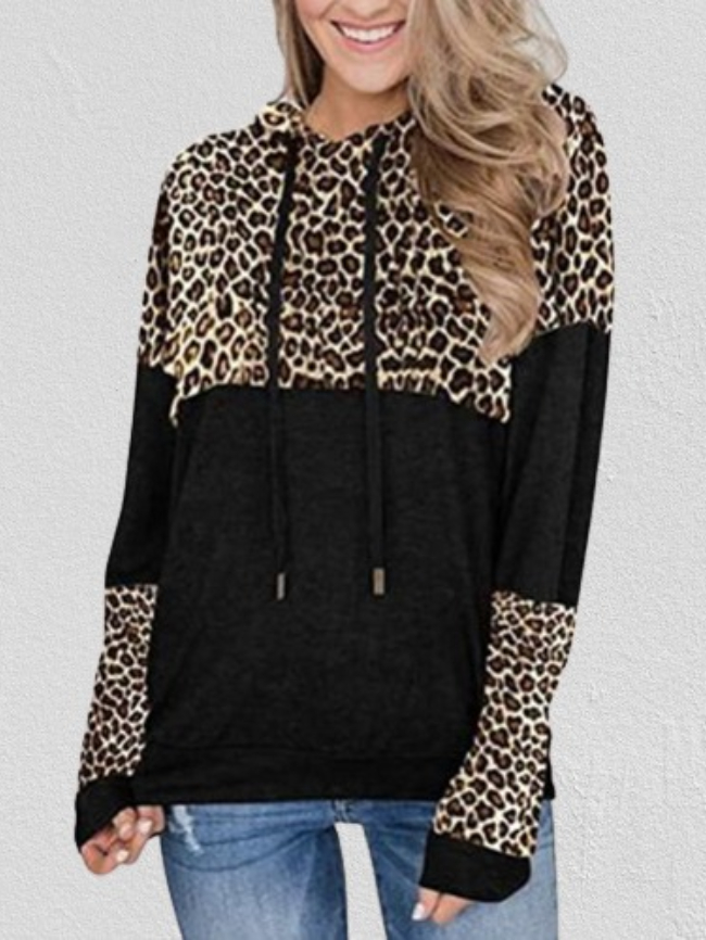 Leopard Stitching Print Drawstring Hooded Sweatshirt