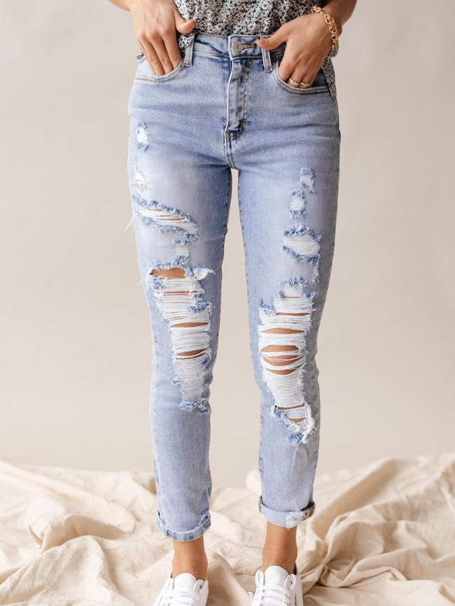 Light Blue High Waist Distressed Skinny Jeans