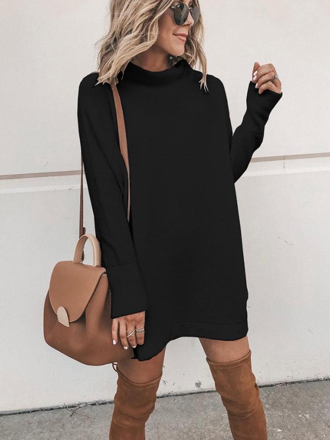 Mock-neck Long Sleeve Knitted Midi Dress
