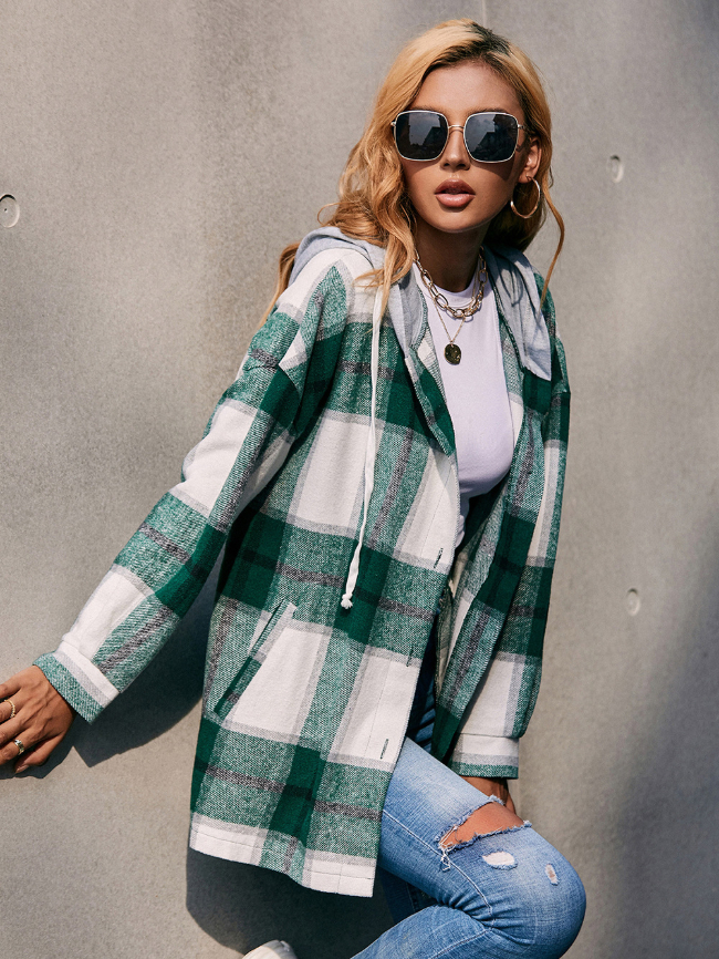 Plaid Printed Button Hooded Jacket