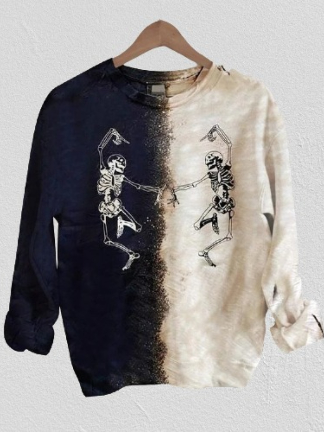 Printed Pullover Long Sleeve Multicolor Sweatshirt