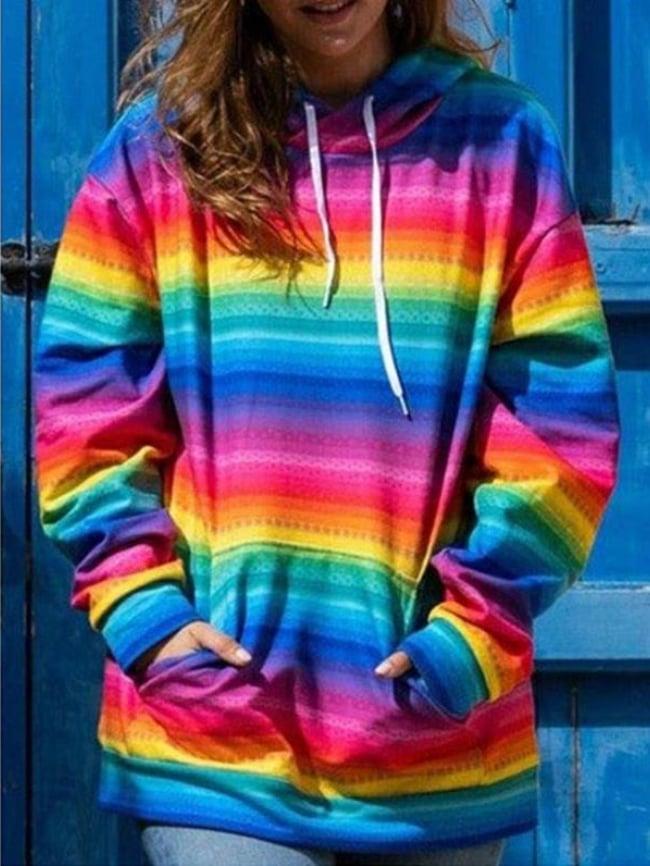 Rainbow Striped Kangaroo Pocket Drawstring Sweatshirt