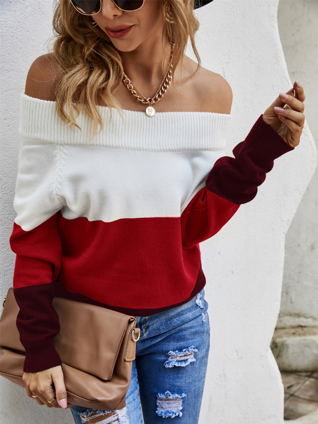 Slouchy neckline Colorblock Knitted Sweater
