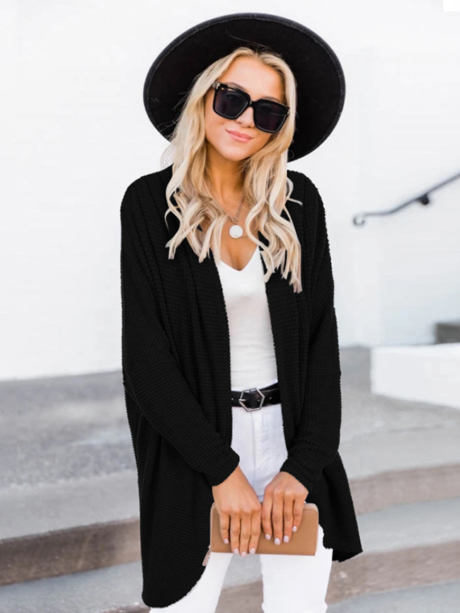 Solid Mid-length Long-sleeved Knitted Cardigan
