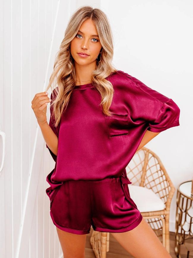 Solid Pocket Bust Satin Pajamas Set