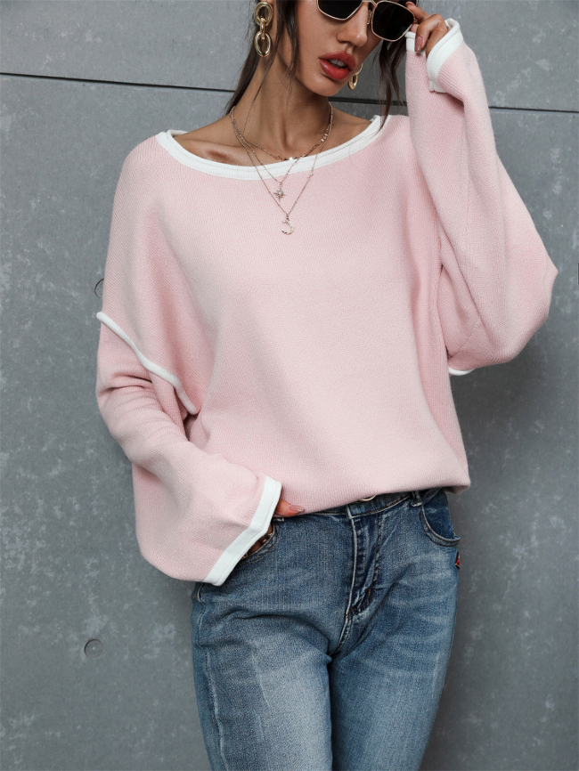 Solid Pullover Loose Fit Knitted Sweater