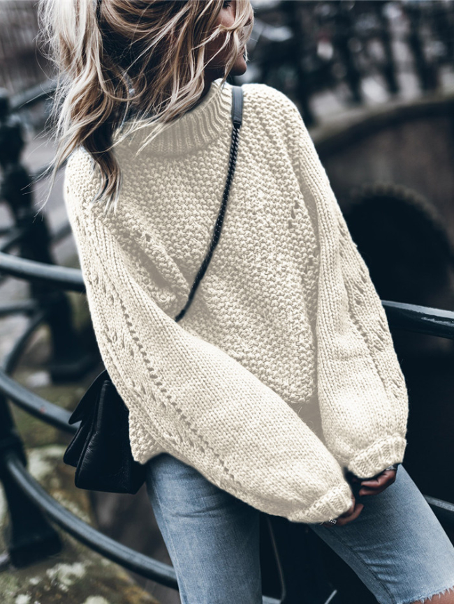 Solid Round Neck Pullover Hollow Sweater