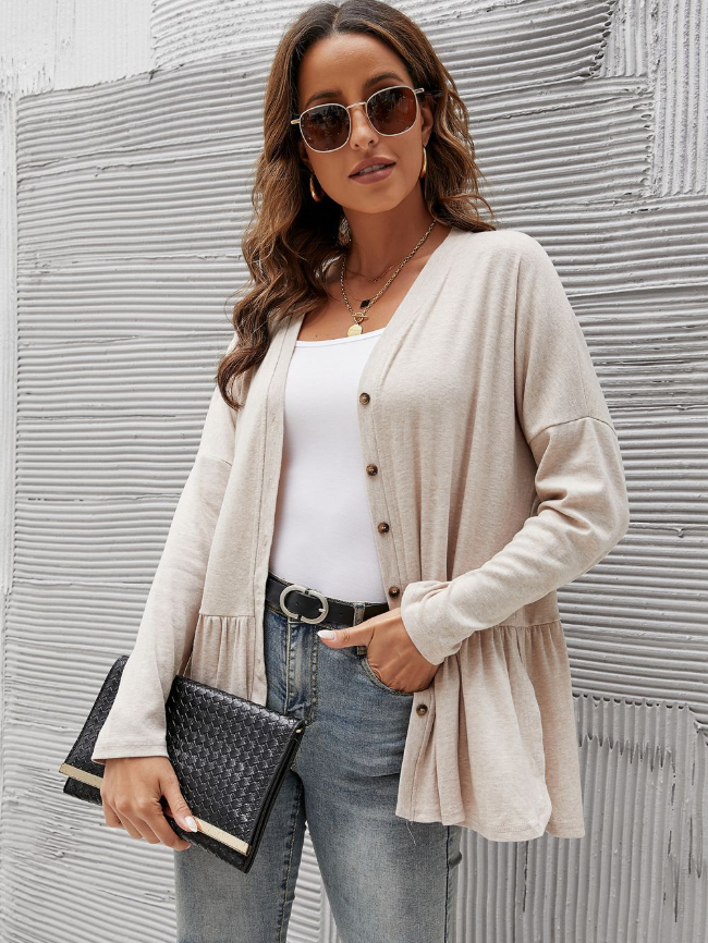 Solid V-neck Ruffle Detailing Blouse
