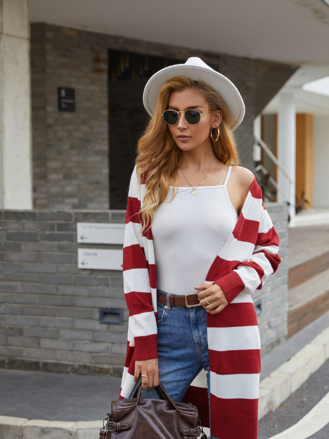 Striped Knitted Cardigan Midi Sweater