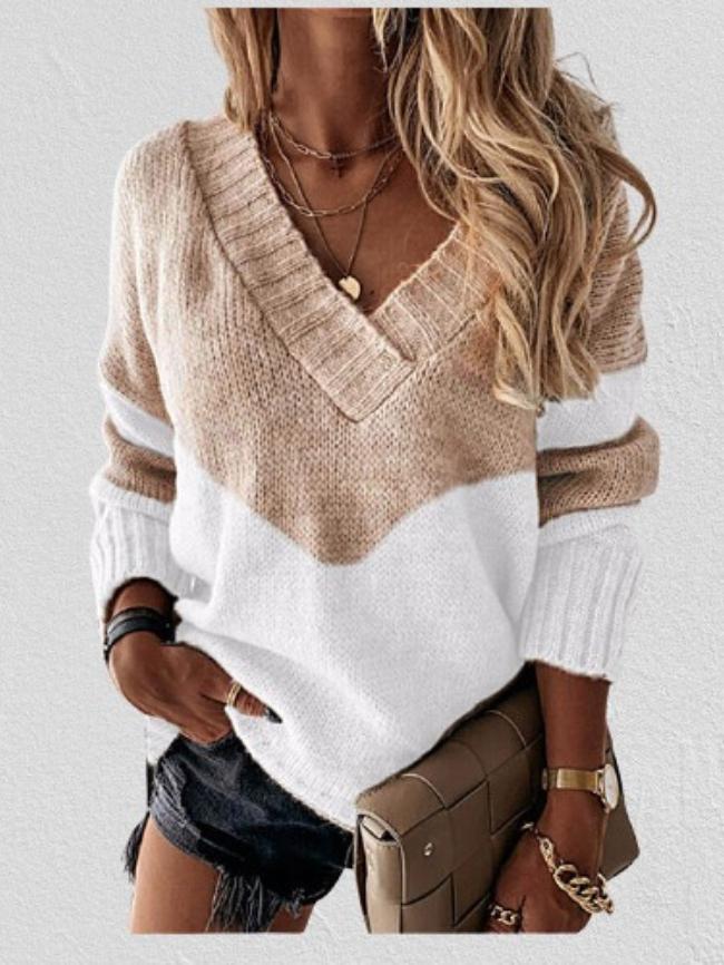 Striped Print Colorblock V-neck Sweater