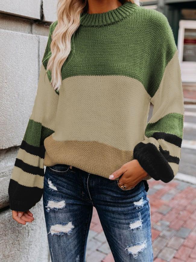 Striped Print Drop Shoulder Pullover Sweater
