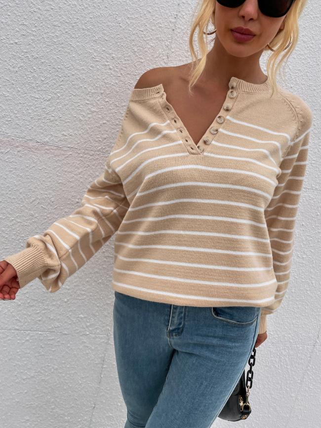 Striped Pullover Button Sweater