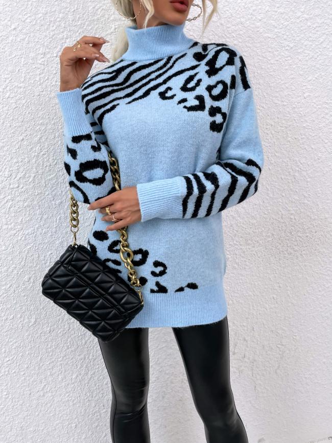 Turtleneck Leopard Pattern Sweater