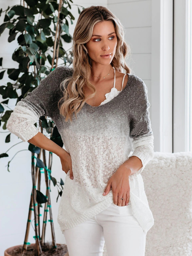 V-neck Gradient Long-sleeve Knit Top