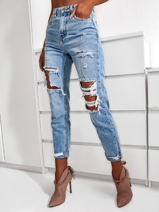 Washed Ripped Relaxed Roll Up Jeans