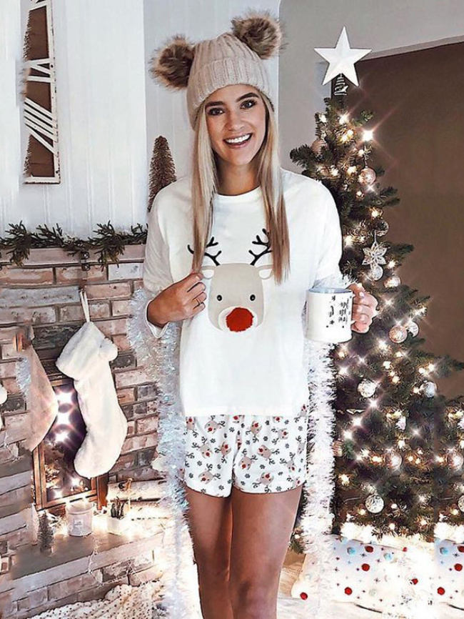 White Christmas Reindeer Print Lounge Shorts Sets
