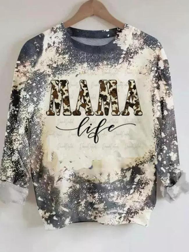 White Tie dye Letter Graphic Pullover Sweatshirt