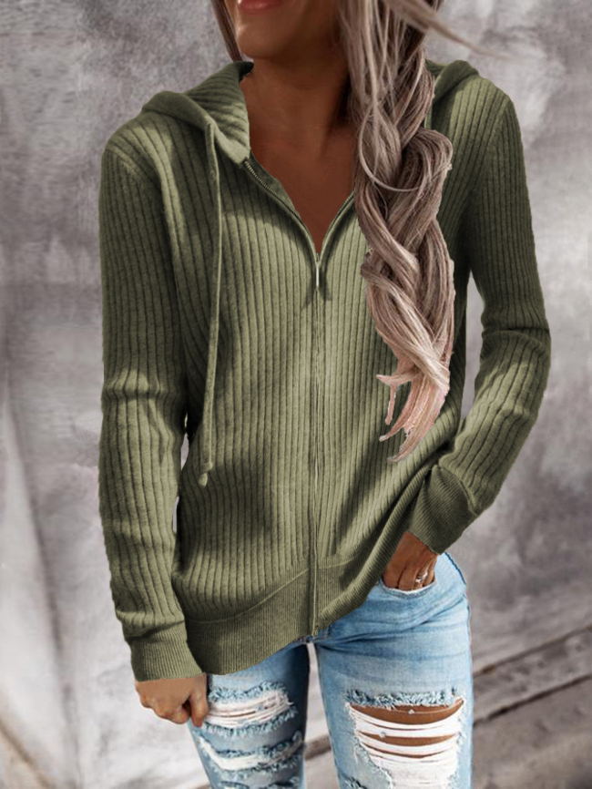 Zipper Dropped Sleeve Hooded Solid Sweater