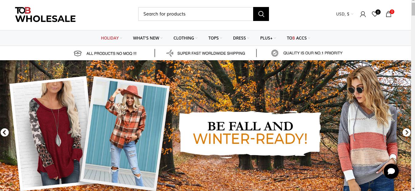 TOB wholesale website.