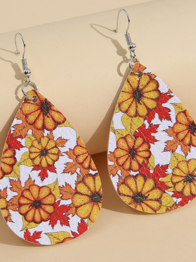 Maple leaf Thanksgiving Holiday Leather Earrings