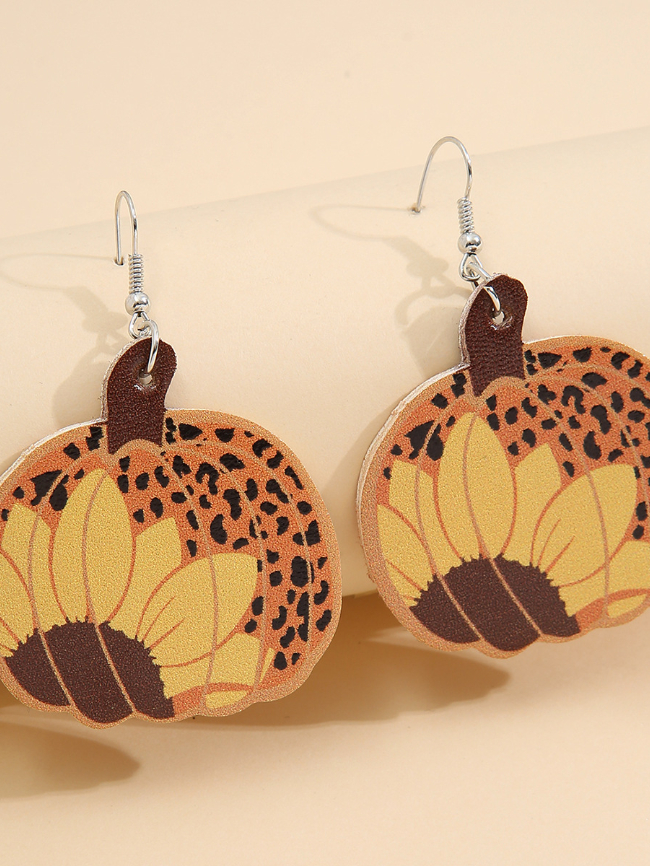 Halloween Leopard Pumpkin Skin Earrings