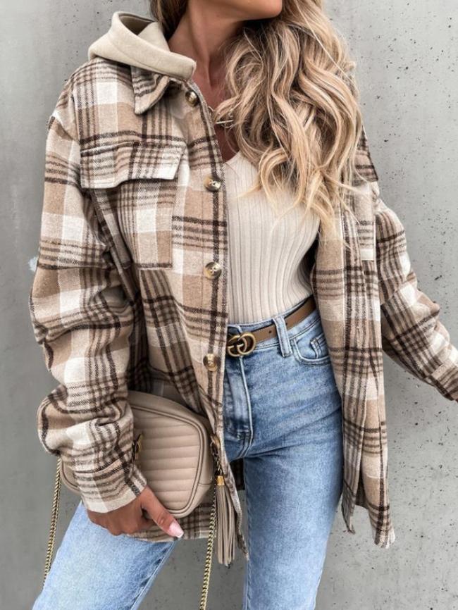 Plaid pocket hooded jacket